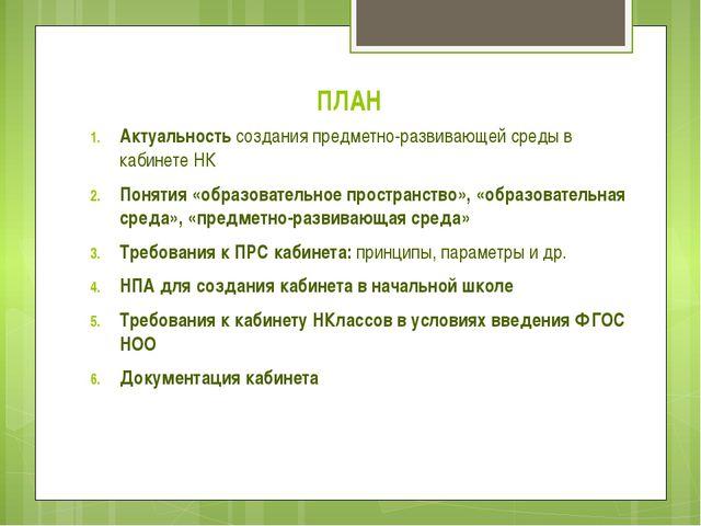 ПЛАН Актуальность создания предметно-развивающей среды в кабинете НК Понятия...