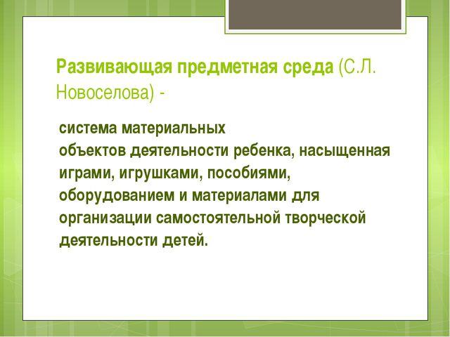 Развивающая предметная среда (С.Л. Новоселова) - система материальных объекто...
