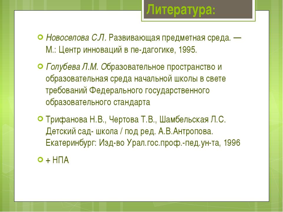 Новоселова С.Л. Развивающая предметная среда. — М.: Центр инноваций в педаг...