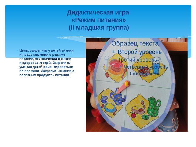 Дидактическая игра «Режим питания» (II младшая группа) Цель: закрепить у дете...