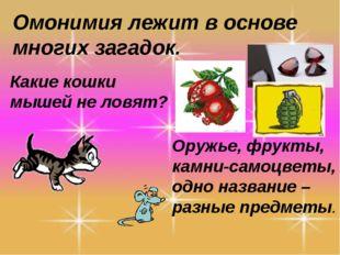 Омонимия лежит в основе многих загадок. Какие кошки мышей не ловят? Оружье, ф