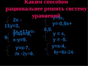 Каким способом рациональнее решить систему уравнений 2х - 11у=3, 3х +11у=-9.