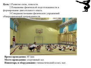 Цель:1.Развитие силы, ловкости. 2.Повышение физической подготовленности и фор