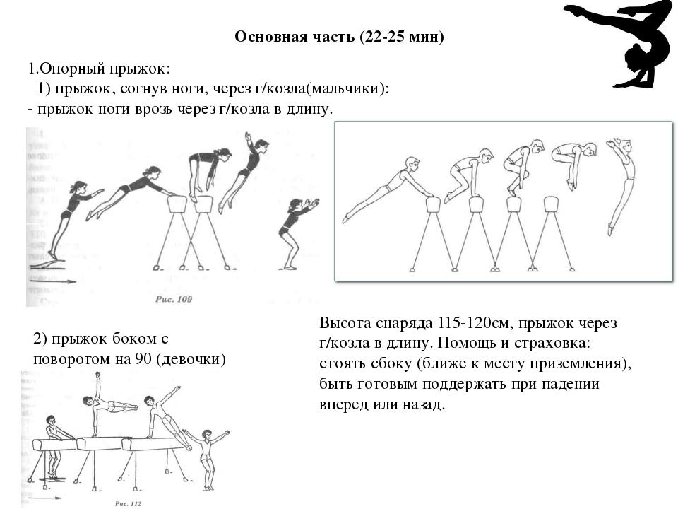 Основная часть (22-25 мин) 1.Опорный прыжок: 1) прыжок, согнув ноги, через г/...