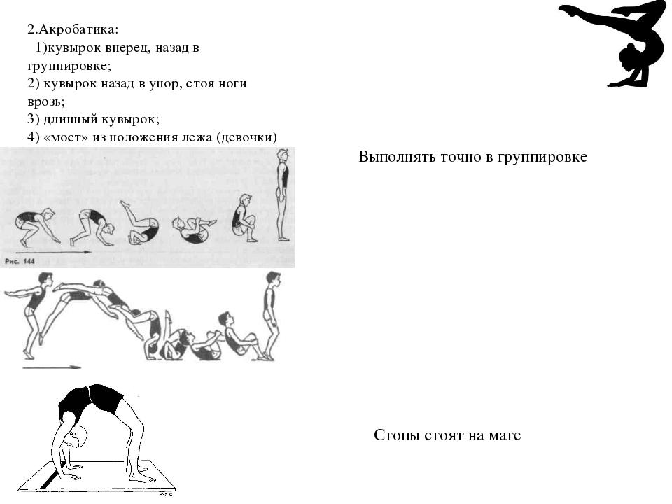 2.Акробатика: 1)кувырок вперед, назад в группировке; 2) кувырок назад в упор,...