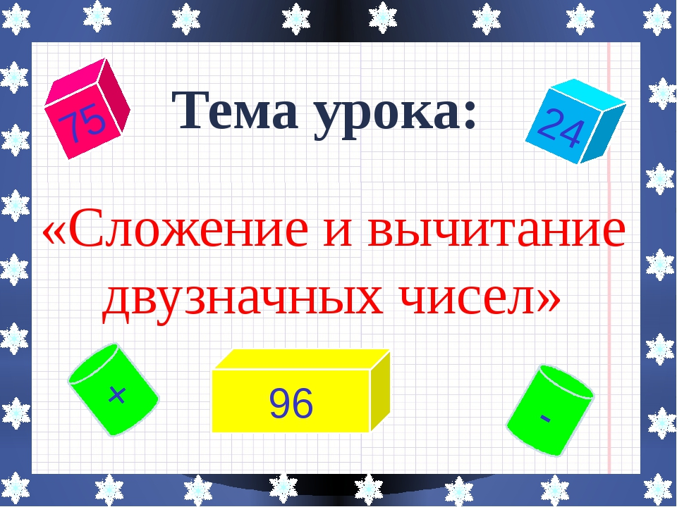 Тема урока: «Сложение и вычитание двузначных чисел» 75 - 96 24 +