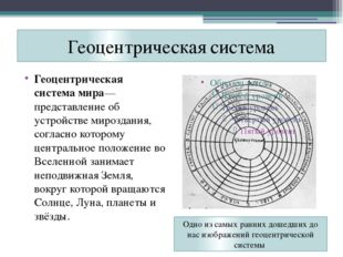 Геоцентрическая система Геоцентрическая система мира— представление об устрой