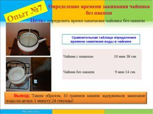 Цель: определить время закипания чайника без накипи Сравнительная таблица опр