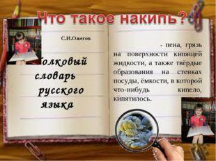 Толковый словарь русского языка НА́КИПЬ - пена, грязь на поверхности кипящей