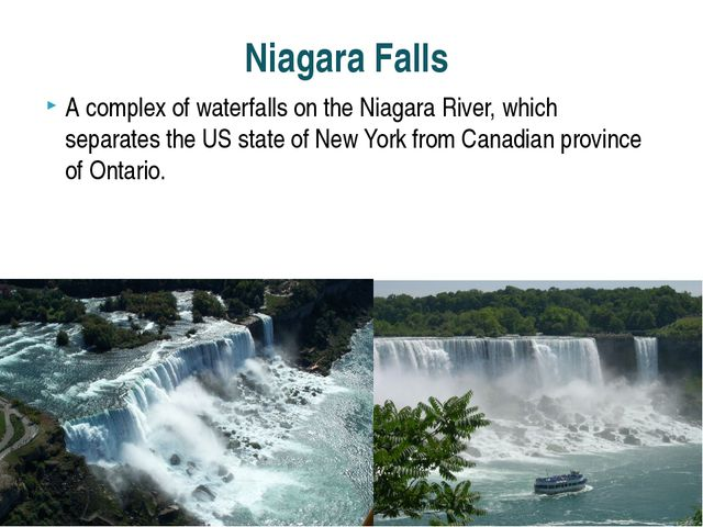 A complex of waterfalls on the Niagara River, which separates the US state of...