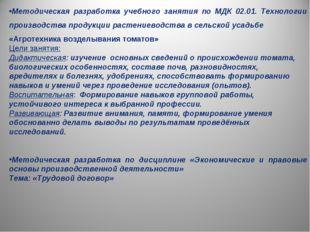 Методическая разработка учебного занятия по МДК 02.01. Технологии производств