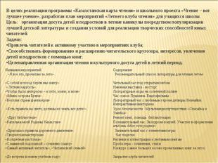 В целях реализации программы «Казахстанская карта чтения» и школьного проект