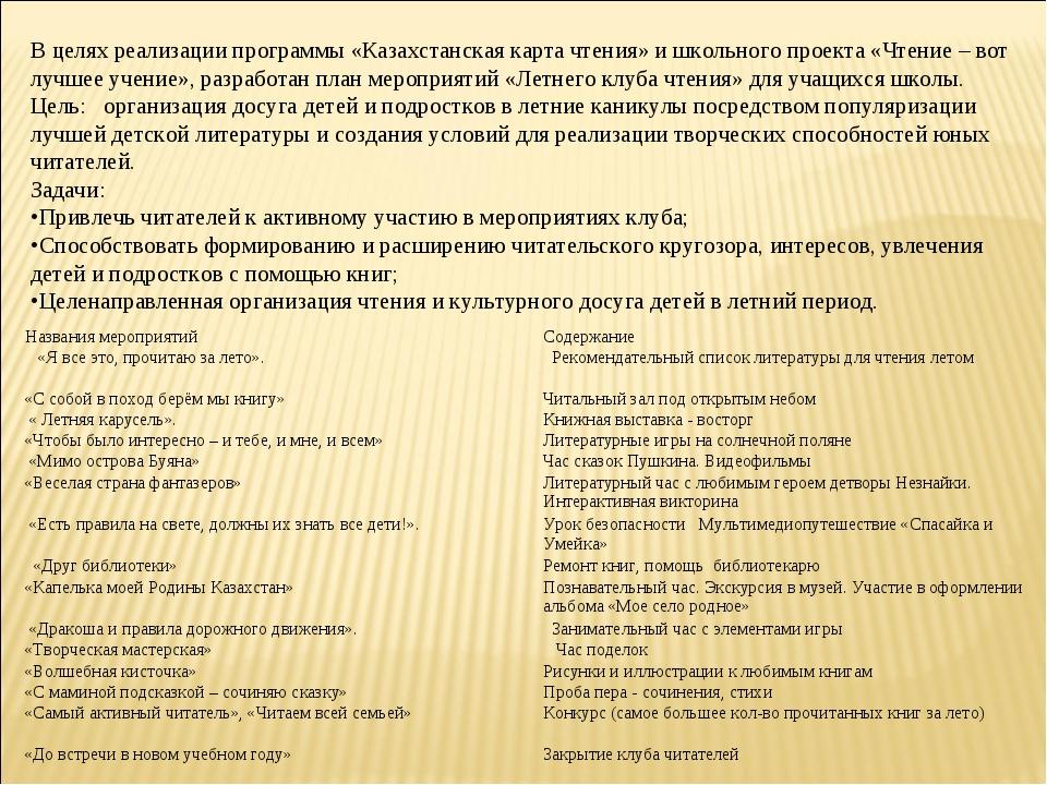 В целях реализации программы «Казахстанская карта чтения» и школьного проект...