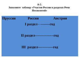 А-2. Заполните таблицу «Участие России в разделах Речи Посполитой» Пруссия Ро