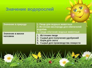 Значение водорослей Значение в природе Значение в жизни человека 1. Пища для