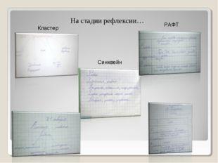 На стадии рефлексии… Кластер РАФТ Синквейн