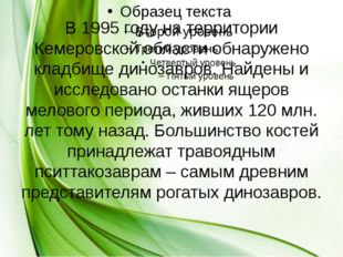 В 1995 году на территории Кемеровской области обнаружено кладбище динозавров.