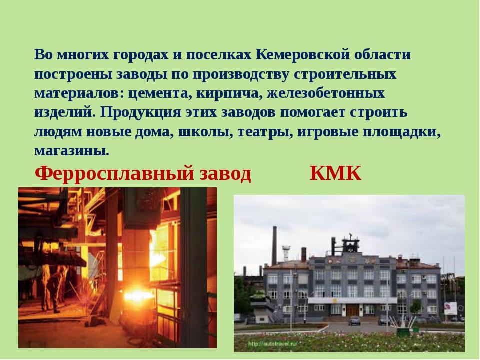 Во многих городах и поселках Кемеровской области построены заводы по производ...