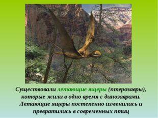 Существовали летающие ящеры (птерозавры), которые жили в одно время с динозав