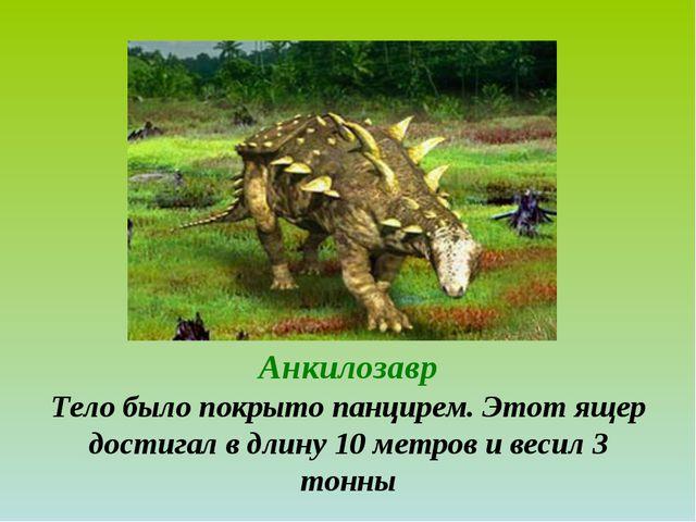 Анкилозавр Тело было покрыто панцирем. Этот ящер достигал в длину 10 метров и...