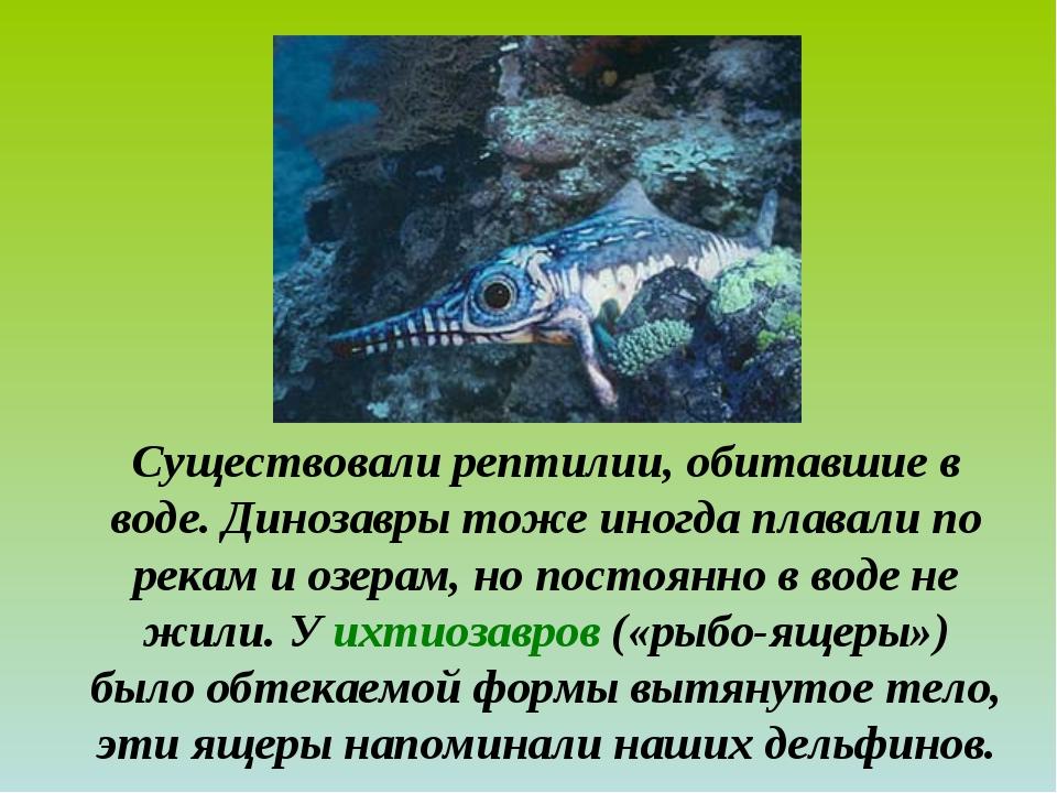 Существовали рептилии, обитавшие в воде. Динозавры тоже иногда плавали по рек...