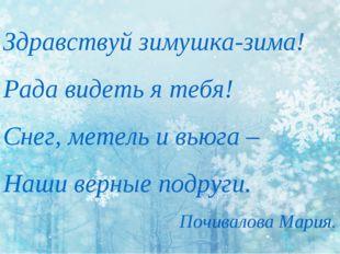Здравствуй зимушка-зима! Рада видеть я тебя! Снег, метель и вьюга – Наши верн