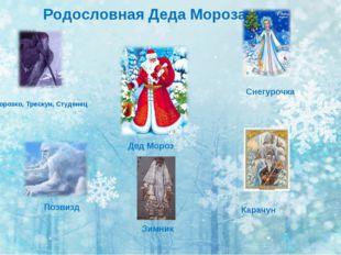 Морозко, Трескун, Студенец Позвизд Зимник Карачун Родословная Деда Мороза Сне