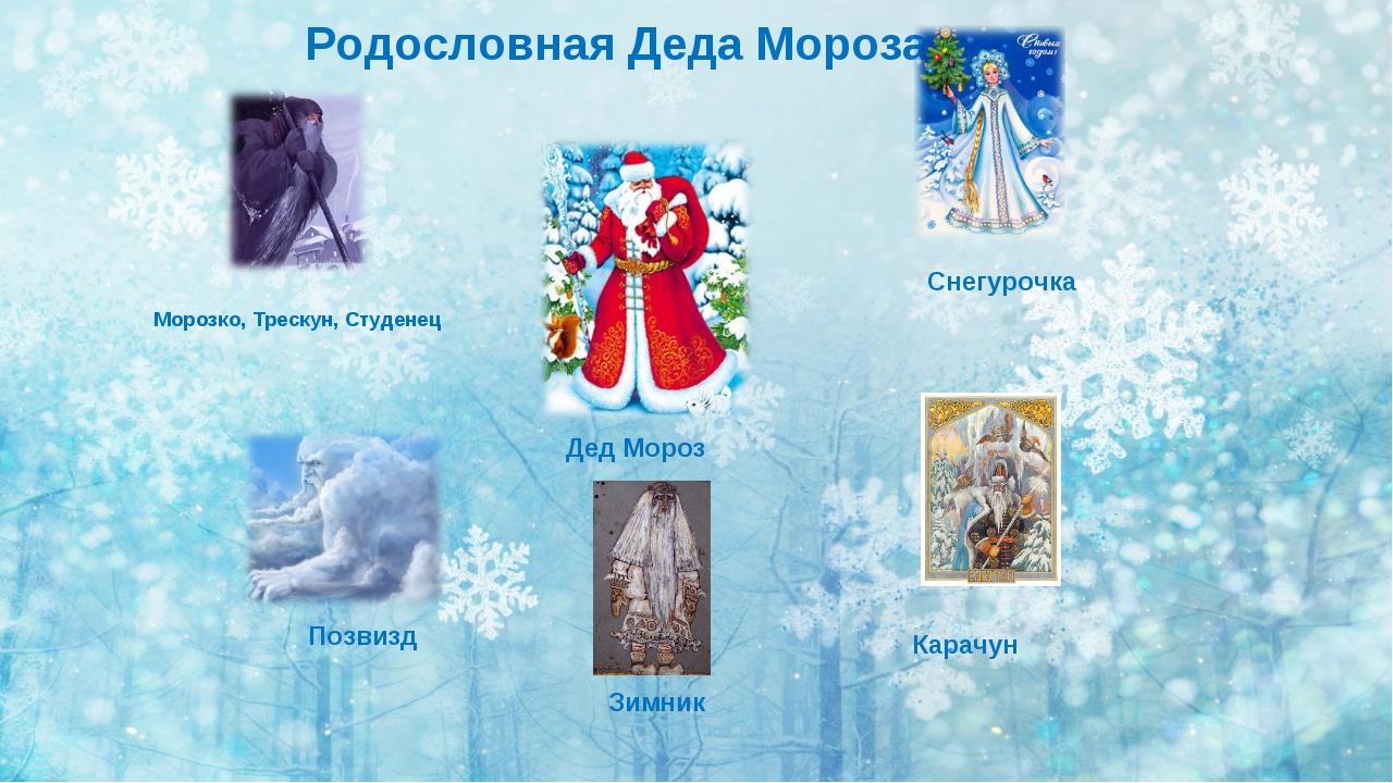 Морозко, Трескун, Студенец Позвизд Зимник Карачун Родословная Деда Мороза Сне...