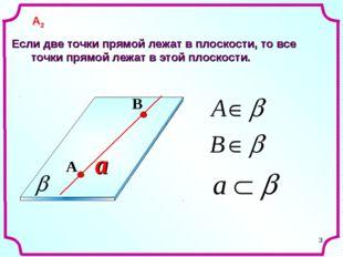 * a Если две точки прямой лежат в плоскости, то все точки прямой лежат в этой