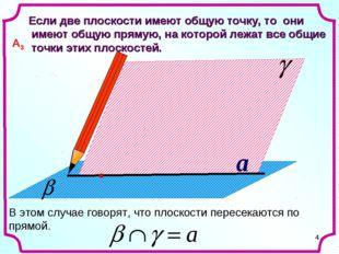 * a Если две плоскости имеют общую точку, то они имеют общую прямую, на котор