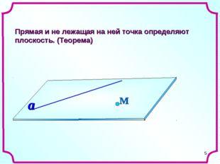 * Прямая и не лежащая на ней точка определяют плоскость. (Теорема) М a