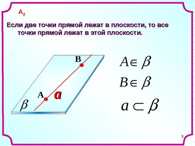 * a Если две точки прямой лежат в плоскости, то все точки прямой лежат в этой...