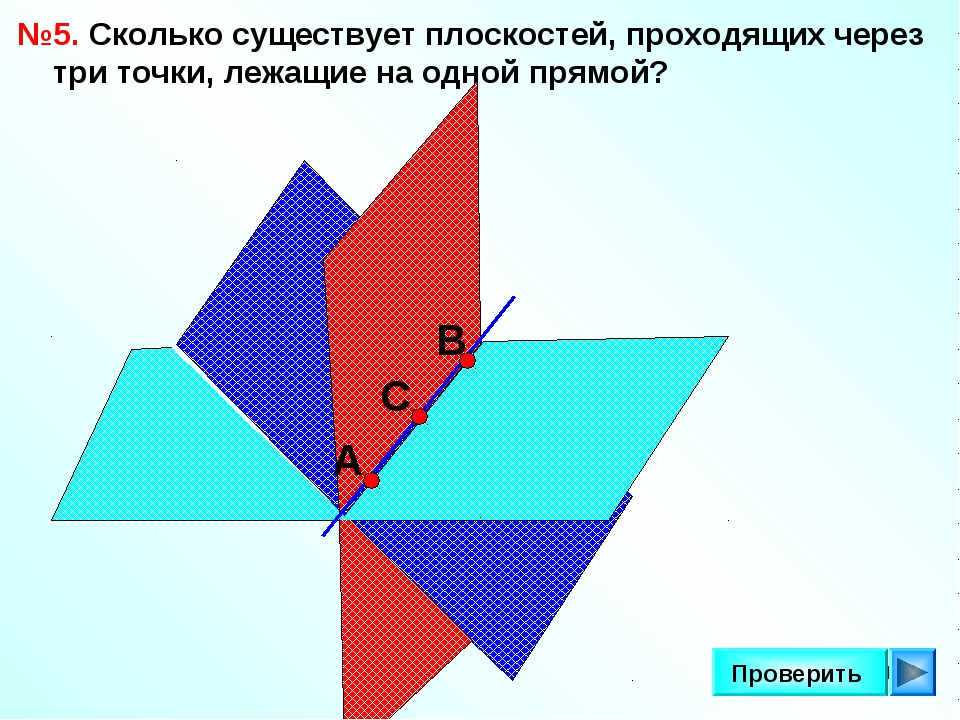* Проверить №5. Сколько существует плоскостей, проходящих через три точки, ле...