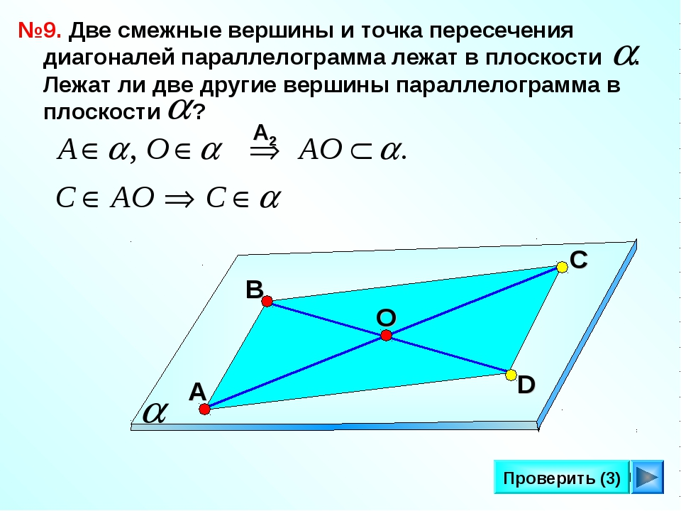 * Проверить (3) №9. Две смежные вершины и точка пересечения диагоналей паралл...
