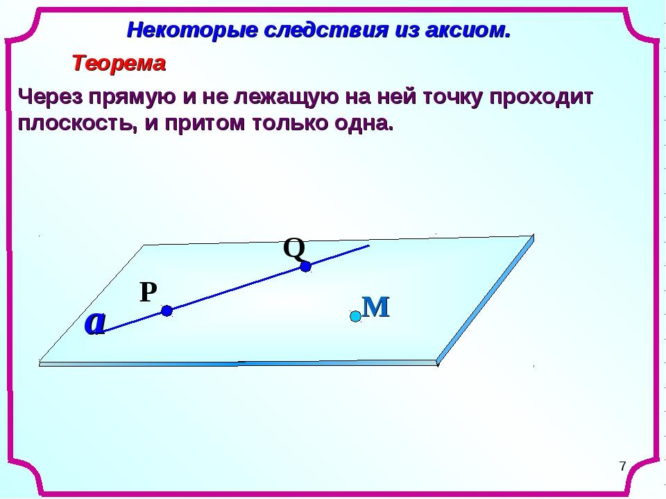 * Некоторые следствия из аксиом. Теорема Через прямую и не лежащую на ней точ...