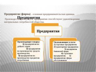 Предприятие (фирма) – основная предпринимательская единица. Производя товары