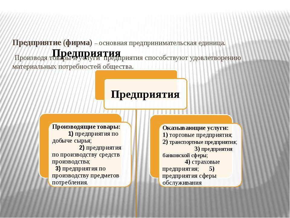 Предприятие (фирма) – основная предпринимательская единица. Производя товары...