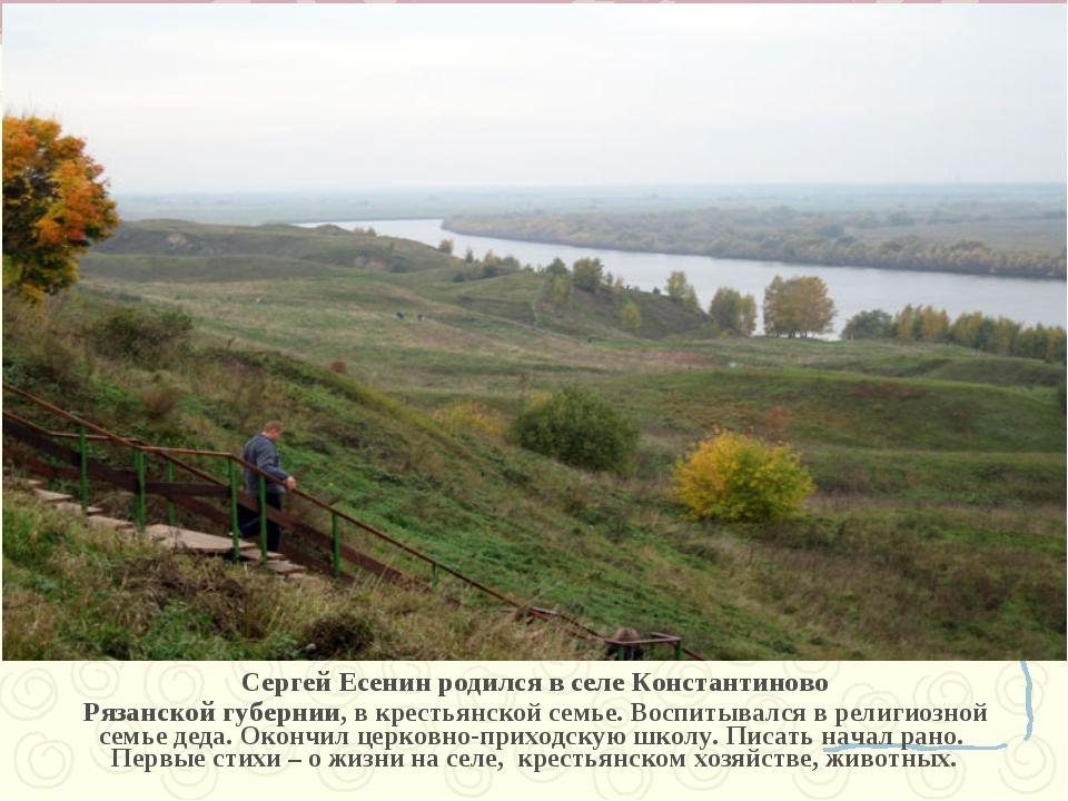 Сергей Есенин родился в селе Константиново Рязанской губернии, в крестьянской...
