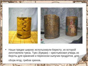 Наши предки широко использовали бересту, из которой изготовляли туеса. Туес (