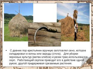 С давних пор крестьянин вручную заготовлял сено, которое складировал в копны