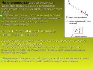 Напряженностью электрического поля называется отношение силы, с которой поле