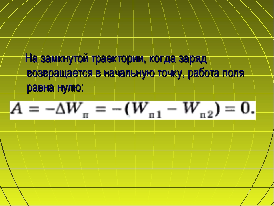 На замкнутой траектории, когда заряд возвращается в начальную точку, работ...