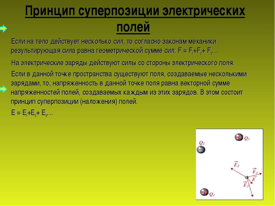 Принцип суперпозиции электрических полей Если на тело действует несколько сил...