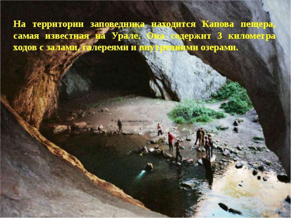 На территории заповедника находится Капова пещера, самая известная на Урале....
