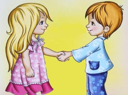 Друзья рисунки мальчик и девочка