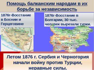 Помощь балканским народам в их борьбе за независимость 1876г-Восстание в Босн