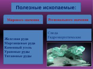 Полезные ископаемые: Мирового значения Регионального значения Железная руда