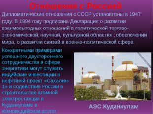 Дипломатические отношения с СССР установлены в 1947 году. В 1994 году подписа