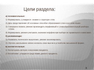 Цели раздела: а) познавательные: 1) Формировать у учащихся знания о структур