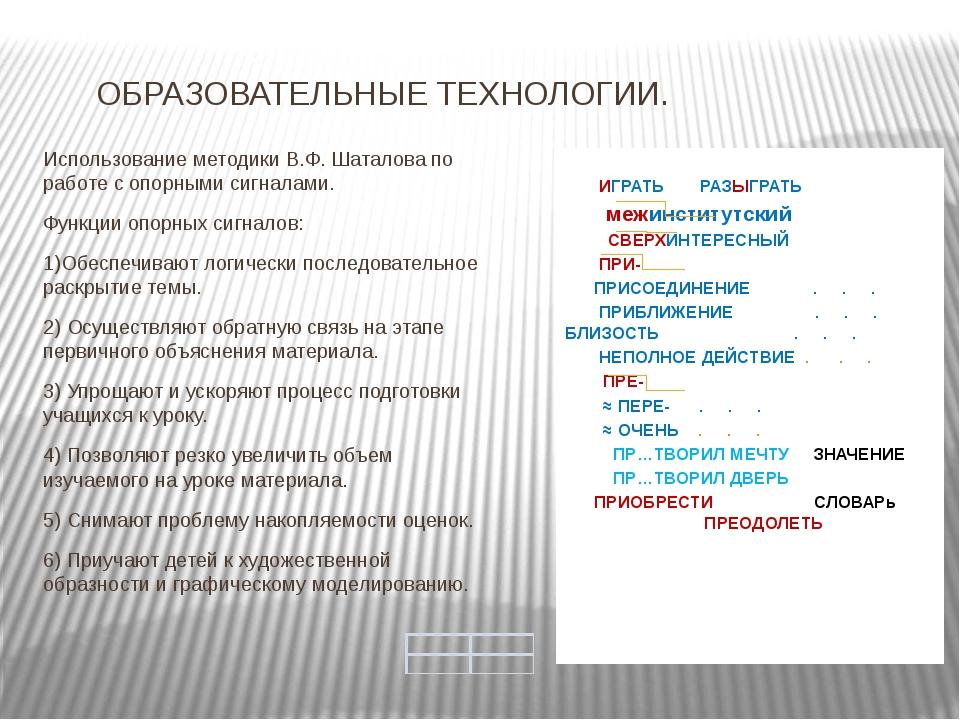 ОБРАЗОВАТЕЛЬНЫЕ ТЕХНОЛОГИИ. Использование методики В.Ф. Шаталова по работе с...
